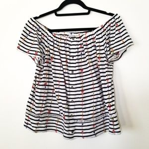 Lucky Brand Off the Shoulder Floral Stripped Top